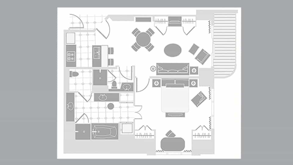 Signature One Bedroom Balcony Suite Floorplan